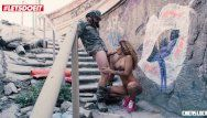 Letsdoeit - tattoed latin babe angel venus afrodita stuffed on old stairs