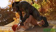 Little red riding hood stuffed by werewolf monster. cg porn animation
