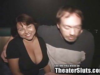 Large arse pantoons lalin girl wife gang stuffed in porno theater