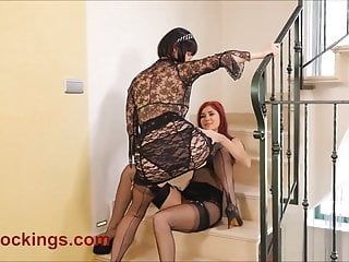 Crotchless panty lesbos in nylons